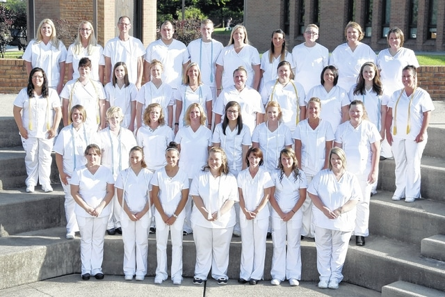 Southern State Community College's most recent class graduating the practical nursing program includes (first row, l-r) Candace Hubbard, Jacinda Lee, Chelsie Gray, Beth McKenzie, Elizabeth Crandell, Ashley Barnes, Courtney Whited; (second row, l-r) Amber Baker, Lori Boling, Sarah Coon, Tonya Evans, Haley Cox, Ashleigh Shigley, Kelly Terry, Trisha Rogers; (third row, l-r) Lauren Freeman, Kayla Rais, Hannah Dotson, Hannah Gray, Lindsay Rose, Kristy Madden, Amberly Yates, Laurie Gardner, Sarah White, Sarah Williamson; (fourth row, l-r) Angela Thompson, Amber Webb, Adam Piatt, Nathanial Henderson, Kaleb Peace, Geneva Chamblin, Heather Green, Tyler Parsons, Arminda Banks, Jennifer Baldwin; and (not pictured) Priscilla Meiers, Sandra Panetta, and Nicole Stuckey.
