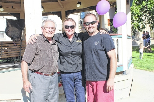 Families of Addicts recently held the first Rally of Hope at the gazebo on the courthouse lawn. Pictured (L to R): Bible Baptist Pastor Dr. Lyn Jackson, guest speaker Sonshine Troche and Bible Baptist Pastor Andrew Johnson.