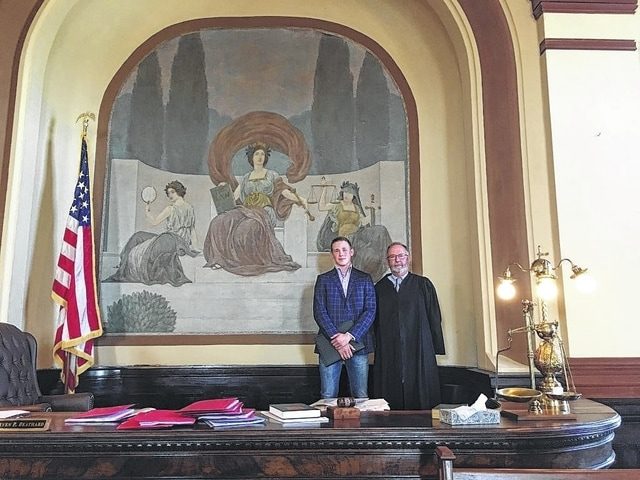 Timofei Rudas, a Russian law student, visited Washington Court House recently while on a capstone trip to the United States to learn about the American judicial system. Rudas's visit on a Monday gave him the opportunity to see court in full swing and he witnessed a couple of proceedings in the Court of Common Pleas. He is pictured here with Fayette County Court of Common Pleas Judge Steven Beathard.