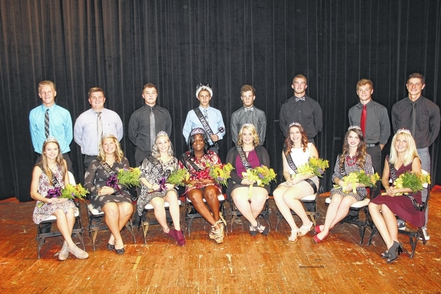 The Miami Trace High School 2016 Homecoming Court was introduced in front of the student body at a Friday assembly in the high school auditorium. From left to right, freshmen Abby Arledge and Kody Burns; sophomores Abbi Pettit and Coby Seyfang; juniors Gabriella Sturgill and Logan Fleak, queen Daria Thomas and king Thomas Bondi, both seniors; seniors Lexee Kersey and Ashton Cox; seniors Kylie Reisinger and Lance Mick; seniors Faith Holloway and Gabe Seyfang; and seniors Lauren Truex and Elijah Sauceda.