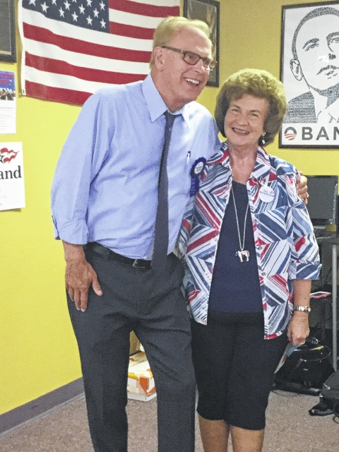 Ted Strickland and Fayette County Democratic chairperson Judy Craig.