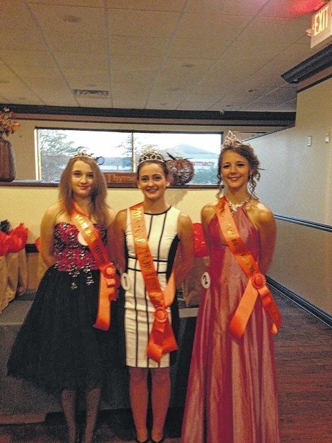 Allison Fullmer (middle) was named this year's Scarecrow Festival Queen on Tuesday. The attendants are Renee Newland (left) and Mackenzie Grafstrom (right). The three-day festival kicks off this Friday.