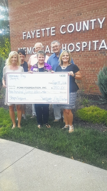 Fayette County Memorial Hospital (FCMH) Foundation recently benefited from an event and was donated 15 percent in sales, for a total of $250.