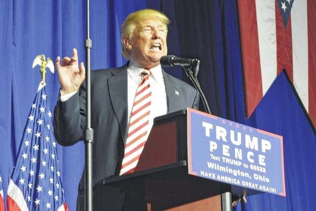 Republican presidential nominee Donald J. Trump makes a point during his speech at a rally Thursday at the Roberts Centre.