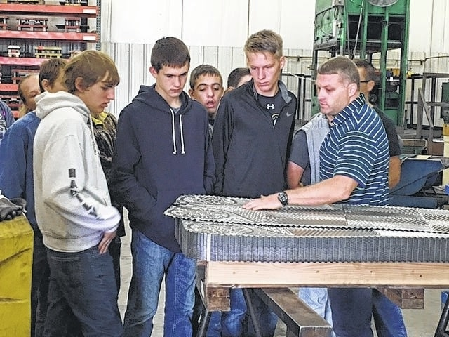 Jon Enochs, engineering manager at WCR, talking to ninth grade Miami Trace students recently.