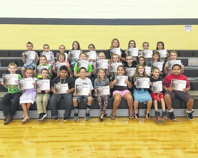 """The following students received recognition for being """"Students of the Month"""" for the month of September at Miami Trace Elementary School. These students were chosen for giving great effort at school each and every day. Front Row: Sarah Whitney, Brooklin Hunter, Kaliana Willman, Carson Cooper, Gerriant Musser, Yaretzi Utrera Canseco, Zeller Kirkpatrick, Korbin Hixon, Mason Haslett and Gracelyn Lyons. Middle Row: Brilynne Ford, Xavier Harris, Keionnie Ackley, Layla Amnay, Jamison Black, Braiden Berry, Wylee Stuckey, Myah Dato, Austin Bradshaw, Delaney Farley and Korben Merritt. Back Row: Tieryn Ivey, Branten Griffin, Ava Clemens, Brody McBee, Jackson Black, Emma Bower, Paige Fitzgerald, Emma McCullah, Brenna Sword, Kelsy Douglas, Drake Capps, Garth Smith-Anderson."""