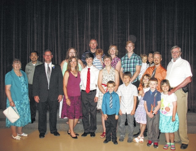 On Oct. 16, Jim and Carolyn Essman celebrated 50 years of marriage. In the picture at a recent gathering are Jim and Carolyn with their four children, their spouses, and 10 grandchildren.