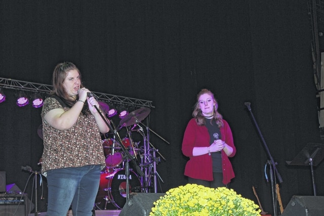 The benefit for Danny Lowe to help pay for his medical costs was a big success, according to organizer Mariann Wright. Pictured are Danny's daughters, Becca and Katy Lowe, who performed during the benefit.