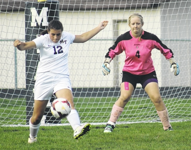 Miami Trace's Morgan Eggleton (12) kicks the ball away from the Miami Trace goal during an SCOL match against Clinton-Massie Tuesday, Oct. 4, 2016 at Miami Trace High School. Also pictured is Miami Trace goalkeeper Taylor Barrett.