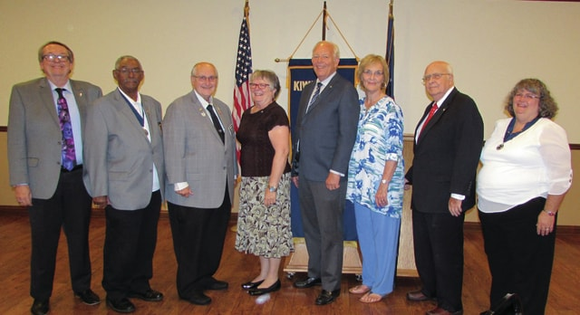 The Washington Kiwanis Club held its President's Party for outgoing president Lynn Hertzler and installation of officers and board members for 2016-18 Monday, Sept. 26 at the Crown Room Banquet Hall. The installation of officers was conducted by Lt. Gov. Jim Milner of Region 10W. Pictured from left are: President-Elect Gary Brock, trustee Fulton Terry, Lt. Gov. Milner, President Wanda Kress, Treasurer Roger Kirkpatrick, trustee Kay Oughterson, trustee Jim Oughterson, and outgoing president Hertzler.