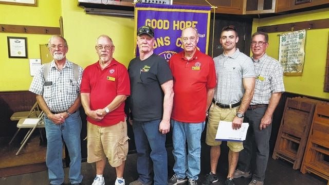 Recently inducted Good Hope Lions with their sponsors, left to right: Lion Bill Berry and his sponsor Lion Jim Cooper, Lion Jerry Hixon and his sponsor Lion Denver Hixon, Lion Andy Daniels and his sponsor Lion Jim Davis.