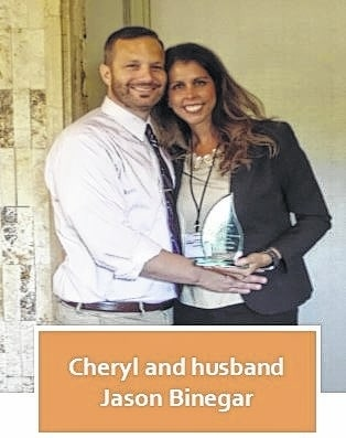 Cheryl Binegar recently was awarded with the Ed Comer Award. She is pictured with her husband, Jason Binegar.