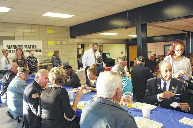 On Friday morning, veterans from all over Fayette County were welcomed and thanked with the annual Miami Trace Veterans Day Breakfast and Program at Miami Trace High School. MT Superintendent David Lewis greeted veterans during the breakfast.