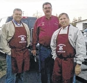 The Shrine grilling crew, left to right, Jason Langley, Brian Tabit and Mylan Hanson.