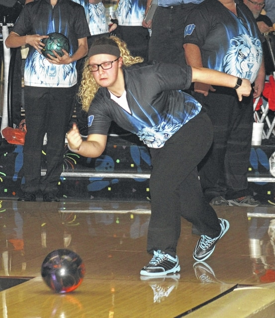 Kalee Crowe bowled a 178 individual game score for Washington during an SCOL match against Miami Trace Wednesday, Nov. 30, 2016 at LeElla Lanes.