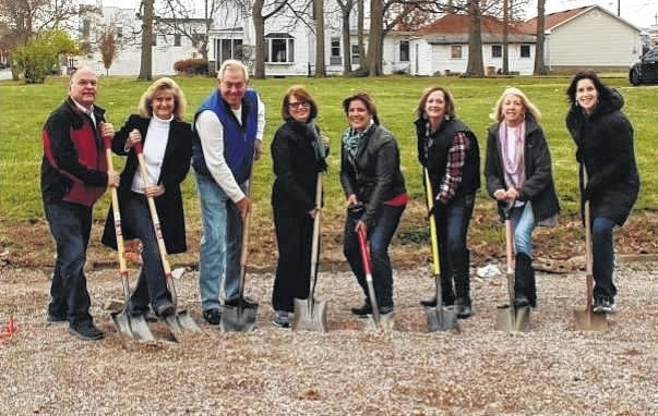 Board, staff and committee members celebrate the groundbreaking ceremony for the new LIFE Pregnancy Center; left to right – Larry Schriver, Barbara Fox, Bill Beatty, Patty Griffiths, Suzie Janasov, Karla Redding, Carol West and Colleen Coole.