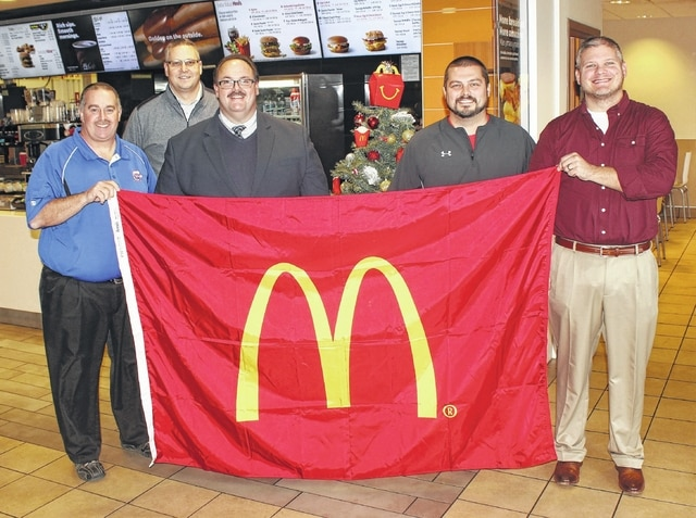 The 9th annual McDonald's Holiday Basketball Tournament is set for the week after Christmas, beginning on Dec. 27. On Thursday, Dec. 8, athletic directors from the four participating schools met with McDonald's of Fayette County and Jamestown owner and operator Nick Epifano, to finalize plans for the upcoming event. (l-r); Mark Rinehart, Greeneview; Aaron Hammond, Miami Trace; Nick Epifano, Jim Wolverton, London and Matt Mason, Madison Plains.