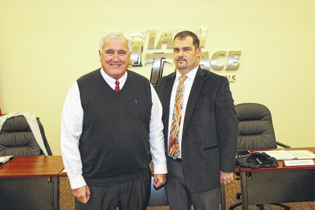 Rob Dawson (right) was elected as the Miami Trace Board of Education president at Tuesday's meeting and Mike Henry (left) was elected as the board vice president for 2017.