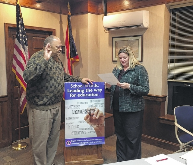 The WCHCS Board of Education held its organizational meeting Thursday evening and decided to reappoint Ken Upthegrove as the 2017 WCHCS Board of Education President. He is pictured with treasurer Becky Mullins, who is administering the oath of office.