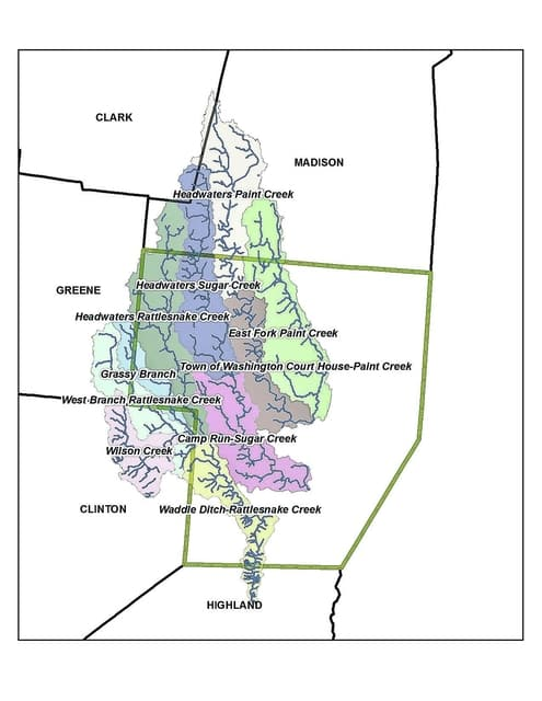 This map shows the sub-watersheds in the headwaters of the Upper Paint Creek Watershed, which extends throughout portions of Fayette, Greene, Madison, Clinton, Clark and Highland counties.