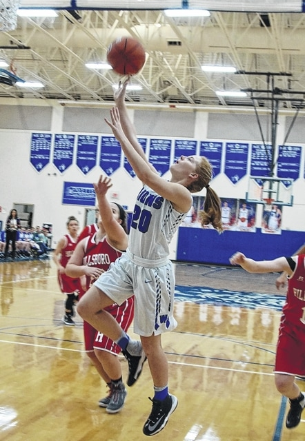 Washington sophomore Tabby Woods takes the ball to the basket during an SCOL game against Hillsboro at Washington High School Wednesday, Jan. 25, 2017.