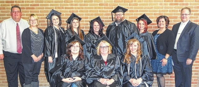 The 10th graduating class of Southern State Community College's respiratory care program includes (front, l-r) Jessica Grooms of West Union, Shana Sarbach of Georgetown, Susanna Schappacher of Greenfield; (back, l-r) Instructor and Director of Clinical Education of Respiratory Care James Burton, Adjunct Faculty Kari Singleton, Anna Burwinkel of Fayetteville, Candace Cassady of Greenfield, Ashley Secrest of Chillicothe, Charles Helton of Hillsboro, Kelsi Lindsey of New Vienna, Associate Professor and Program Director of Respiratory Care Chyane Collins, and Dean of Technical Studies Jeff Montgomery.