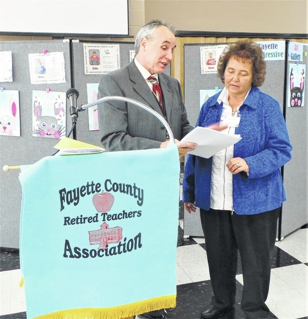 At the beginning of February, some 50 members of the Fayette County Retired Teachers Association met for their first meeting of 2017. The program was presented by John Buch, Member-Education Coordinator of Ohio's State Teachers Retirement System. He began by reading several thought-provoking facts: Ohio's oldest retired teacher receiving benefits is 106 years old , but there were in total 171 retirees over the age of 100 to whom STRS paid benefits in 2016. He then provided a concise list of contact numbers for entities that retired educators might need to contact, such as STRS Ohio, Medicare, Social Security, and the prescription medications provider, dental plan and the two health plans into which Ohio's retired teachers are placed. He also alerted the local group to some of the upcoming changes that may have to be made by the STRS Board as the result of a recent meeting focused on new—mostly ominous—actuarial assumptions. Shown are John Buch from STRS and President Susan Stuckey from the FCRTA.