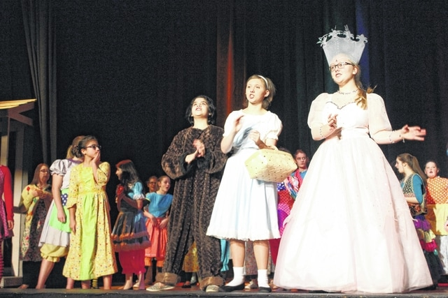 """The Washington Middle School cast and crew of the upcoming production """"Wizard of Oz"""" practice Tuesday evening at the Historic Washington Middle School Auditorium. With just a few days left to practice, each student worked hard to ensure their part was precise."""