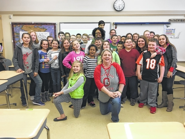 Miami Trace Elementary School celebrated Start with Hello Week recently. These fifth graders are pictured with a presenter from Sandy Hook Promise. Each fifth grade class got to participate in a classroom presentation from Tyrrea Byrd. She was wonderful and the kids loved her.