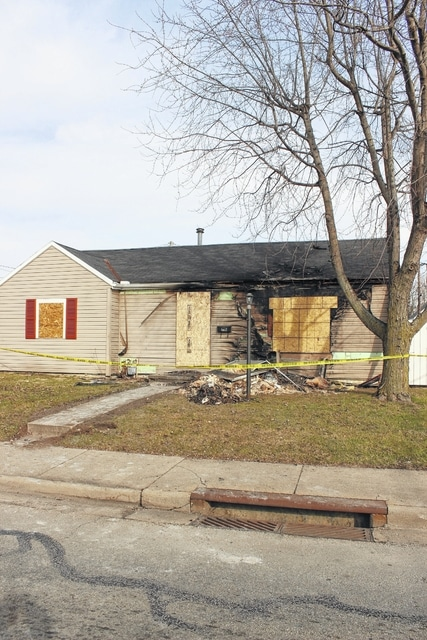 This home at 716 S. Elm St. was damaged Saturday evening due to fire. Mutual aid was requested to help extinguish the fire and no injuries were reported at the scene.