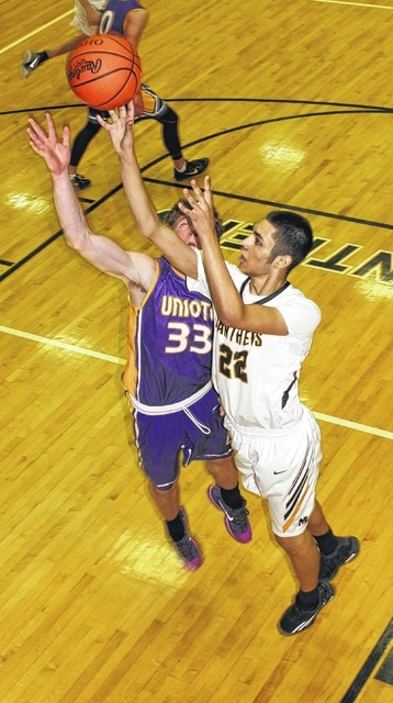 Miami Trace senior Keondrick Bryant (22) puts up a shot while guarded by Unioto's Gabe Fisher (33) during a non-league game at the Panther Pit Saturday, Feb. 4, 2017.