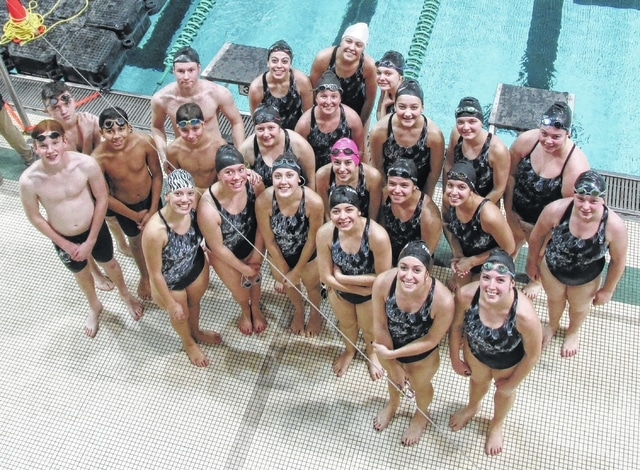 Members of the Miami Trace swimming teams are pictured at the Sectional tournament at Ohio University in Athens Saturday, Feb. 11, 2017. (first row, l-r); Destiny Schook, Clare Sollars, Lauren Truex, Morgan Leasure, Gretchen Rife, Ally Streitenberger; (second row, l-r); Trevor Throckmorton, Kalin Orso, Hunter Roush, Taylor Barrett, Addie Braden, Lilly Litteral, Kylie Pettit, Kaitlyn Arnold; (third row, l-r); Keelee Smith, Kate Leach, Kaitlyn Taylor, Kirsten Odierno; (back, l-r); Jacob Downing , Isaac Abare, Olivia Flerchinger, Tori Morrison and Carissa Hostetter.