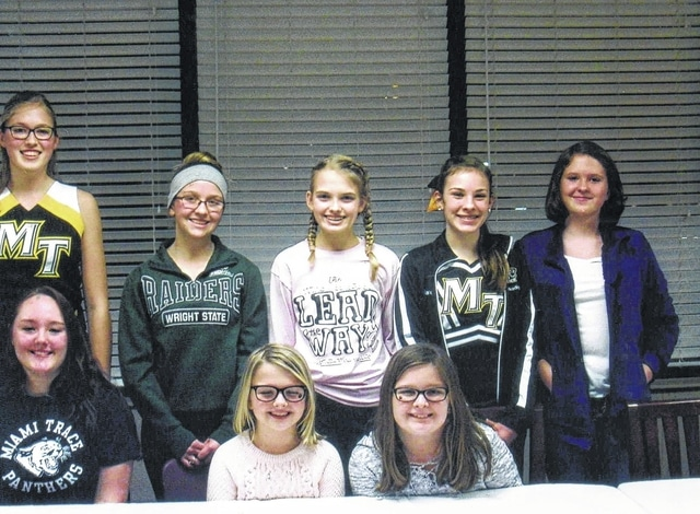 The All-N-One 4-H Club elected officers for 2017 at their first meeting, which was held on Jan. 17 at Kroger. They are (bottom row) safety officers Taylor Perkins, health officer Cali Kirkpatrick, community service officer Peyton Johnson, (top row) treasurer Andrea Robinson, president Skylynn Barden, secretary Hidy Kirkpatrick, vice president Madison Johnson and historian Mary Gerber. Absent from the picture were news reporter Lorelei King and environmental officer Lucas King.