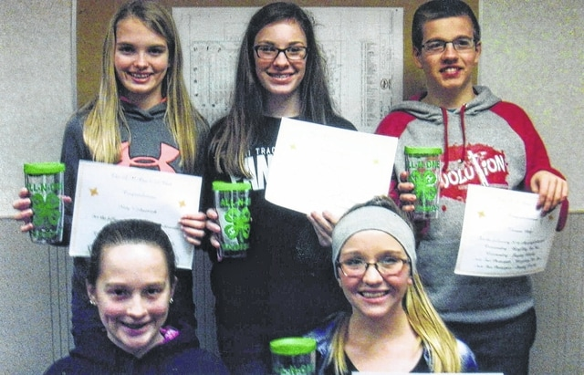 The Fayette County All-N-One 4-H Club presented awards to their 2016 members that did an excellent job in their projects on Feb. 7. Front row: Katy Kotlinski and Skylynn Barden. Back row: Hidy Kirkpatrick, Madison Johnson and Thomas May. Absent were: Lorelei King, Kayla Miller, Victoria Miller, Taylor Perkins, Bethany Reiterman, and Andrea Robinson.