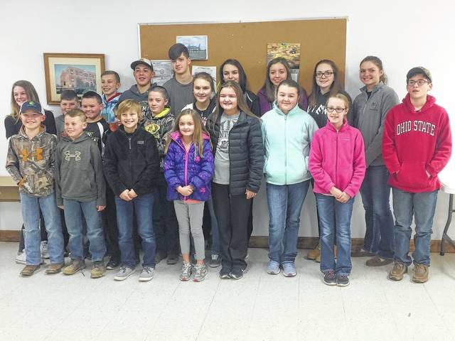 The 2017 Lucky Leaf Livestock 4-H Club recently named the officers for the year. The president is Morgan Miller, vice president is Charlotte Jacobs, secretary is Natalie Lindsey, treasurer is Riston LeBeau, news reporter is Kate Hicks, historian is Krissy Ison, health and safety is Weston Melvin and the recreation officers are Gage Miller, Jacob Miller, Eli Miller, Corbin Melvin and Thad Stuckey. The members recently gathered for a group photo: front row: Gus Wilt, Preston Lucas, Corbin Melvin, Ryan Little, Karley Hicks, Kate Hicks, Natalie Lindsey, Caitlin Cottrill and Eli Miller. Back row: Abby Little, Austin Lucas, Nicholas Lindsey, Weston Melvin, Kooper Hicks, Gage Miller, Aaron Little, Hazen Jacobs, Hillery Jacobs, Krissy Ison, Charlotte Jacobs and Morgan Miller.