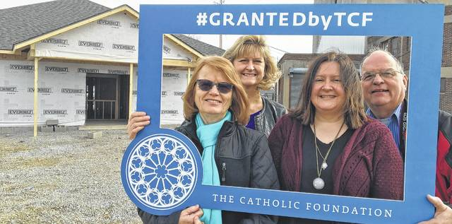 LIFE Pregnancy is the recipient of a $40,500 grant from The Catholic Foundation for the new facility. Capital campaign committee members accepting the grant are: left to right front row; Patty Griffiths, and Nora DeBruin; back row; Barbara Fox and Larry Schriver.