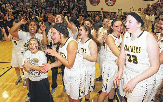 Members of the Miami Trace Lady Panthers are elated after capturing a Regional championship over Dresden Tri-Valley, 30-28 at Zanesville High School Friday, March 10, 2017. The Lady Panthers play Hathaway Brown School in the State Final Four Thursday at 3 p.m. at the Jerome Schottenstein Center on the campus of The Ohio State University.