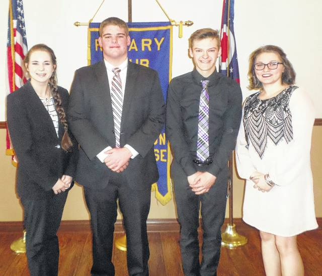 Local high school students recently participated in the Rotary Four-Way Test and performed exceptionally well. From left to right, the first place winner was Rebecca Lucas from Miami Trace; second place was Cole Karnes of Miami Trace; fourth place was Grant Patterson of Washington Senior High; and third place was Haley Maxie of Washington Senior High. Lucas will go on to give her Four-Way speech at the districts. The test, which has been translated into more than 100 languages, asks the following questions: Is it the truth? Is it fair to all concerned? Will it build goodwill and better friendships? Will it be beneficial to all concerned? The students are given four minutes and have to cover all four aspects of the test without using any notes.