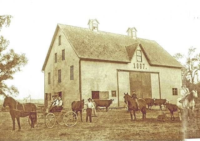 John and Emma Shrock built a house in 1884 and this barn in 1887 at their farm on SR 41 just north of Greenfield. Both are still in use today and the farm is still in the hands of their Duckworth descendants.
