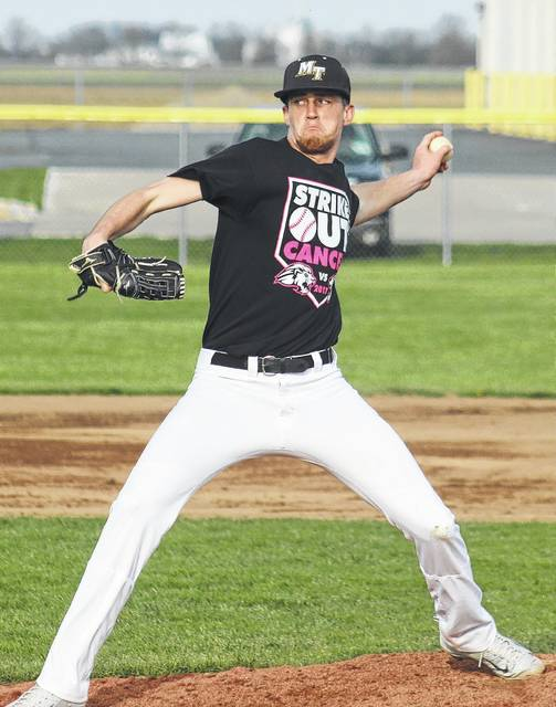 Miami Trace junior Darby Tyree delivers a pitch against the Washington Blue Lions during an SCOL game at Miami Trace High School Wednesday, April 12, 2017. Tryee went the distance on the mound, notching a 2-0 victory for his team.