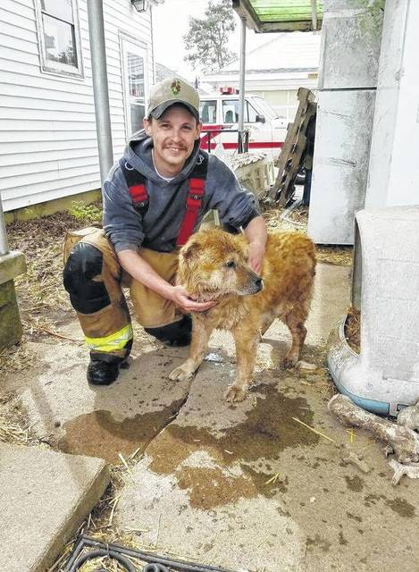 Jefferson Township Volunteer Fire Department firefighter Devon Jenkins helped save the life of a family dog after receiving a report of the animal being stuck in a 24-foot well near a home on Moon Evans Road.