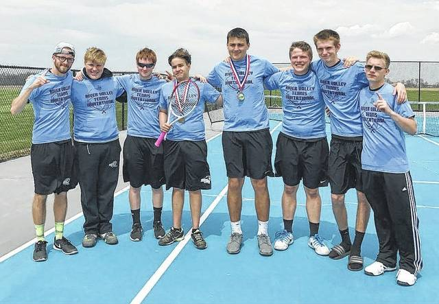 Members of the Miami Trace tennis team at the River Valley Tournament, which they won, Saturday, April 15, 2017. (l-r); head coach Mitch Augenstein, Ely Schritzinger, Isaac Abare, Juan Diego Navas, Seth Leach, Adam Ginn, Matt Fender and Nathan Taylor.