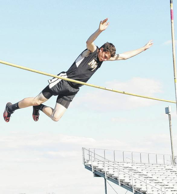 Miami Trace sophomore Wyatt Cory clears the bar in the pole vault during a tri-meet with Hillsboro and Lynchburg-Clay Tuesday, April 18, 2017.