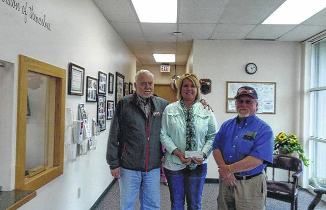 Disabled American Veterans Chapter 89 donates to Fayette Progressive Book Club. Pictured (L to R): Bob Malone, Betty Reisinger and Bob Draves.