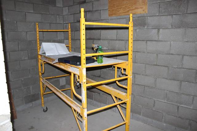 A picture of construction inside the small room addition to the jail that will house the body scanner.