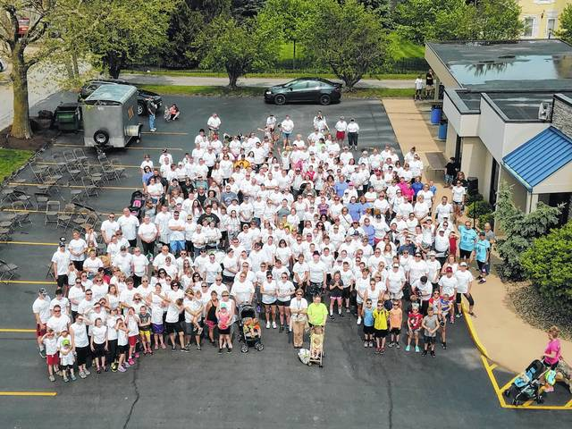 Hospice of Fayette County held its annual Hike for Hospice Sunday with a large crowd gathering to support the organization. Thanks to the Washington Fire Department, a large group photo was taken of the participants in the hike.