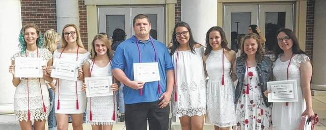 Pictured are American Red Cross Red Cord recipients: (l-r) Audrey Shaeffer, Kaila Howard, Kaitlyn Woods, Kyle Moore, Mickenna Nash, Alexis Tyree, Marriah McGraw and Jacie Prater (Not pictured: Taylor Hurles, Lucas Slaton and Katelyn Young).