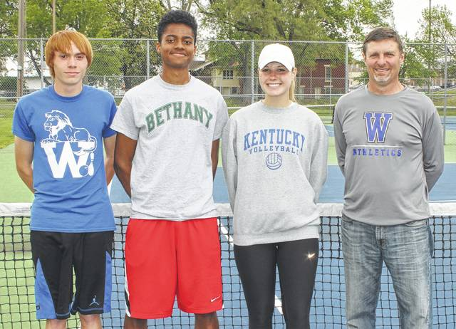 The Washington Blue Lion tennis team will have three of its members competing in the District tournament Saturday, May 20 at Ohio University in Athens. (l-r); Grant Mustain, Kenny Upthegrove and Madalyn Wayne. Upthegrove is a singles player and Mustain and Wayne are a doubles team. They are joined on the courts at Gardner Park by head coach Greg Phipps.