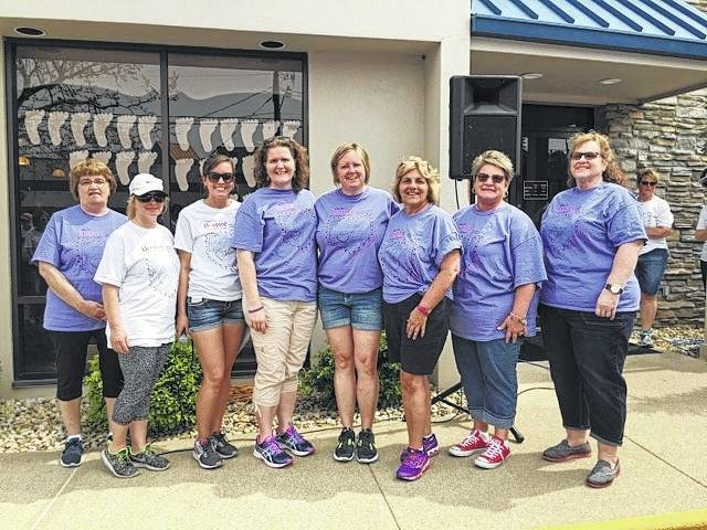 Hospice of Fayette County thanked the Hike for Hospice corporate sponsors after a successful event on April 30. Pictured (L to R): Barb Duncan, Merchants National Bank; Sue Thomas, St. Catherine's Manor/Court House Manor; Carolyn Moore, Hospice of Fayette County; Becky Mitchell, East Ambulance; Heather Williams, Doug Marine Motors; Shirley Pettit, Pettit's Enterprises; Carrie Herdman, Doug Marine Motors; and Vicki Crawford, Pettit's Enterprises.