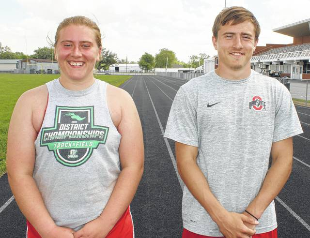Katie Seyfang, left and Drake Litteral will each be competing in two events at the State track meet Friday and Saturday at The Ohio State University. Seyfang will compete in the discus throw Friday morning and the shot put Saturday morning. Both events start at 9:30 a.m. Litteral will compete in the 100 and 200-meter dashes. The semifinals in the Division II 100-meter dash is at 2:25 p.m. and the 200-meter dash semis are set for 3:50 p.m., both on Friday. The finals are at 1:10 and 2:40 p.m., respectively, Saturday.
